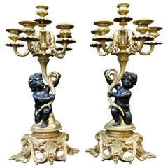 Vintage Pair of Antique Bronze Louis XV Candelabra