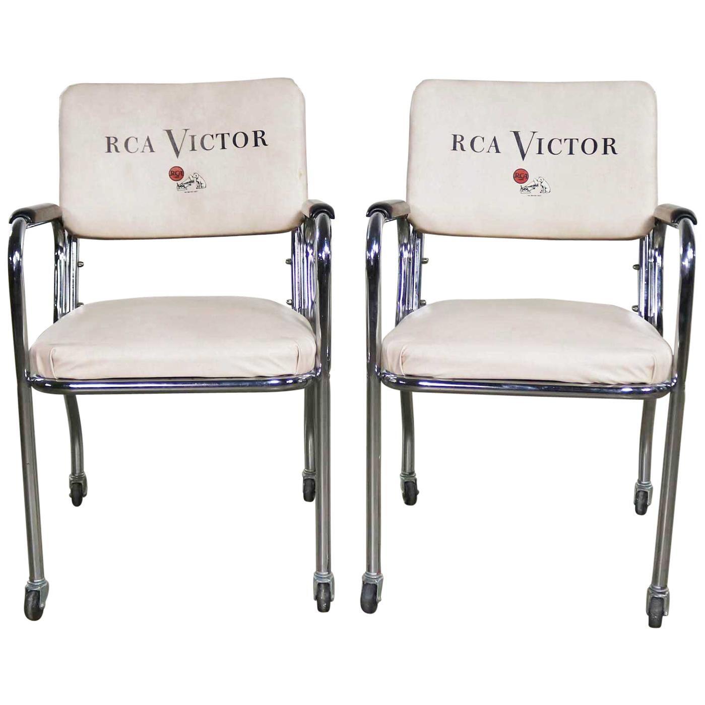 Pair of Art Deco Streamline Modern RCA Victor Chromcraft Advertising Chairs