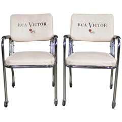 Pair of Art Deco Streamline Modern RCA Victor Chromcraft Advertising Chairs