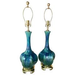 Vintage Pair of Blue Green Ceramic Table Lamps Brass Greek Key Base Restored