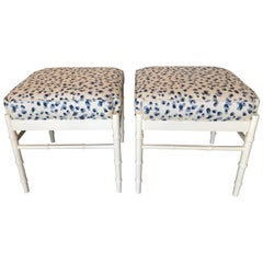 Vintage Pair of Blue White Upholstered & Lacquered Faux Bamboo Benches Ottomans