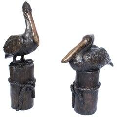 Vintage Pair of Bronze Pelicans on Mooring Posts, Late 20th Century