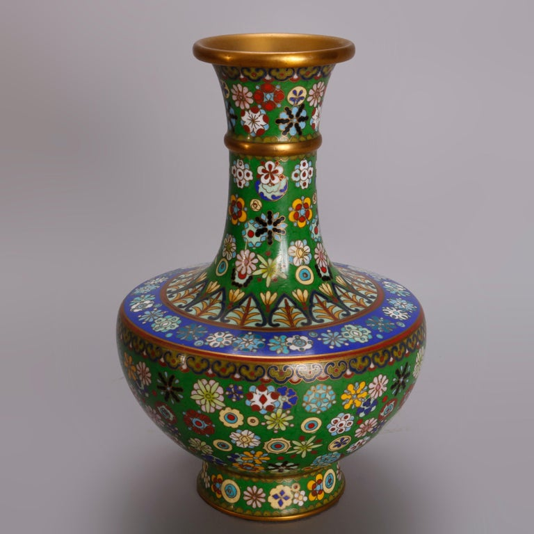 Vintage Pair of Chinese Cloisonne Floral Enameled Vases, 20th Century For Sale 3