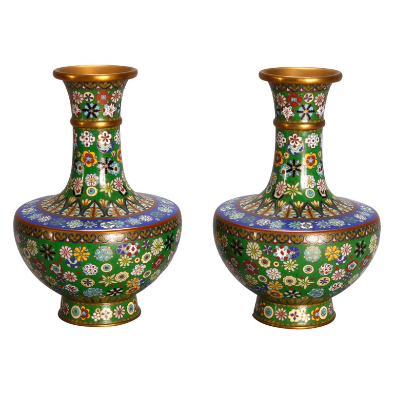 Vintage Pair of Chinese Cloisonne Floral Enameled Vases, 20th Century For Sale