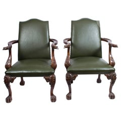 Vintage Pair of Eagle Leather Library Chairs Armchairs, Mid-20th Century