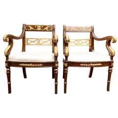 Vintage Pair of Empire Revival Mahogany and Giltwood Armchairs, 20th Century
