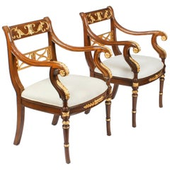 Vintage Pair of Empire Revival Mahogany & Giltwood Armchairs, Late 20th Century