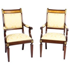 Vintage Pair of Empire Revival Mahogany and Ormolu Armchairs by Charles Barr