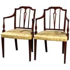 Vintage Pair English Regency Carved Mahogany Upholstered Armchairs, circa 1940