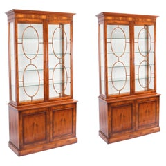 Vintage Pair English Yew Wood Library Bookcases Display Cabinets, 20th C