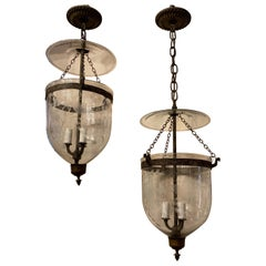 Vintage Pair Etched Glass Leaves Grapes Bell Jar Lanterns Bronze Vaughan Fixture