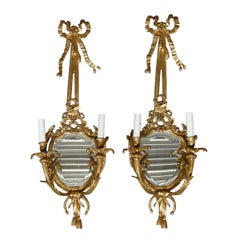 Vintage Pair of Federal Brass Double Candle Light Mirrored Wall Sconces