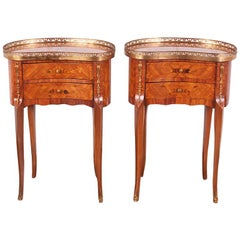 Vintage Pair French Kingwood Marquetry Kidney-Shaped Nightstands Side Tables