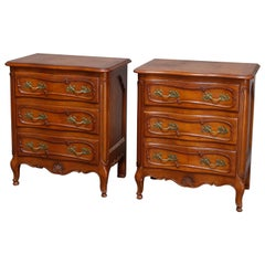 Vintage Pair of French Louis XV Style Mahogany 3-Drawer End Stands, circa 1930