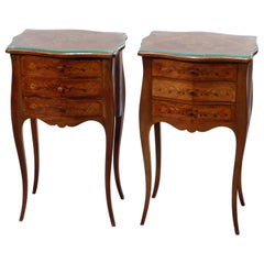 Vintage Pair French Style Mahogany Floral Marquetry Side Stand, Circa 1930