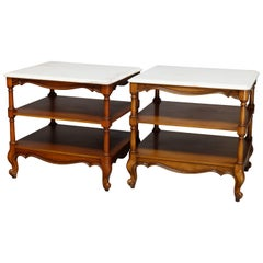 Vintage Pair French Style Mahogany Marble Top End Tables, 20th Century