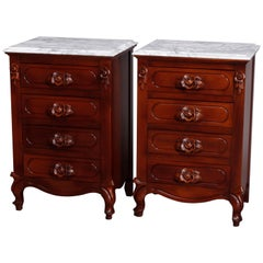 Vintage Pair French Victorian Carved Walnut and Marble 4-Drawer End Stands