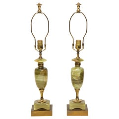 Vintage Pair of Green Onyx Deco Lamps