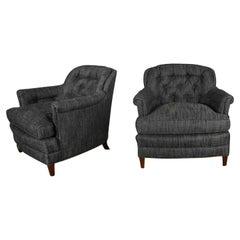 Vintage Pair Henredon Lounge Club Chairs Button Backs Fabricut Escapade Carbon
