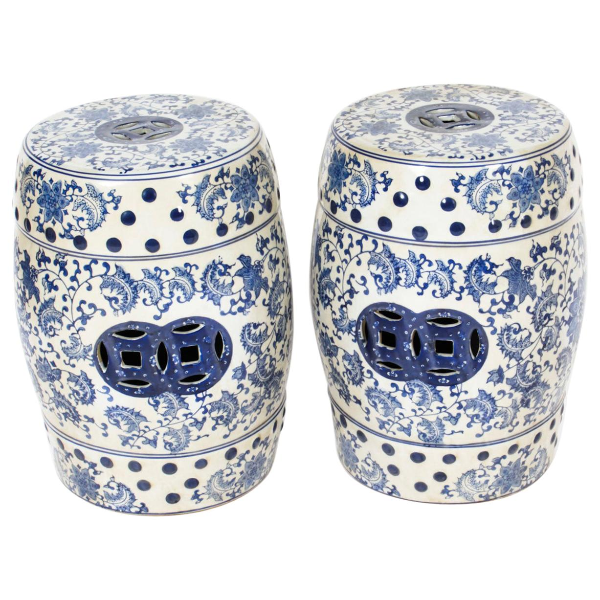 Vintage Pair of Japanese Blue and White Ceramic Garden Seats, 20th Century