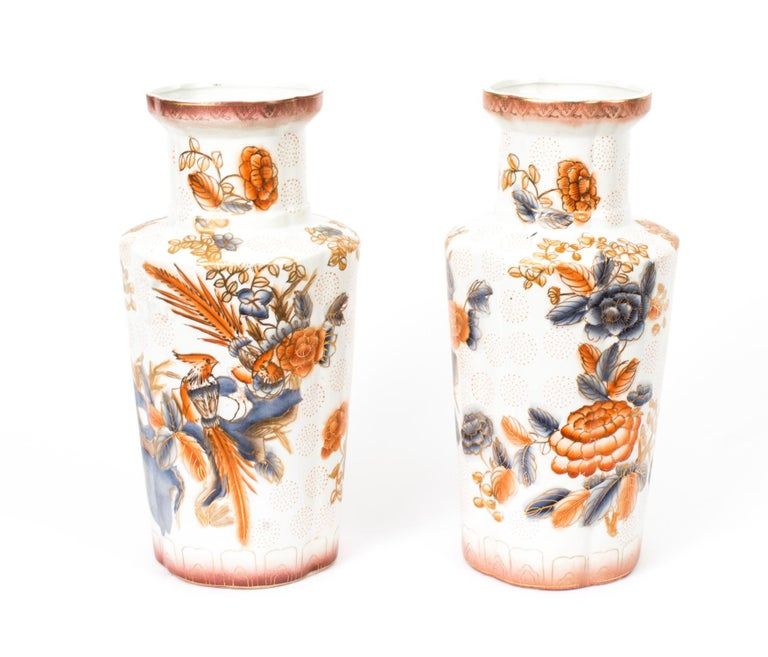Vintage Pair of Japanese Imari Hand Painted Porcelain Vases, Mid-20th Century For Sale 10