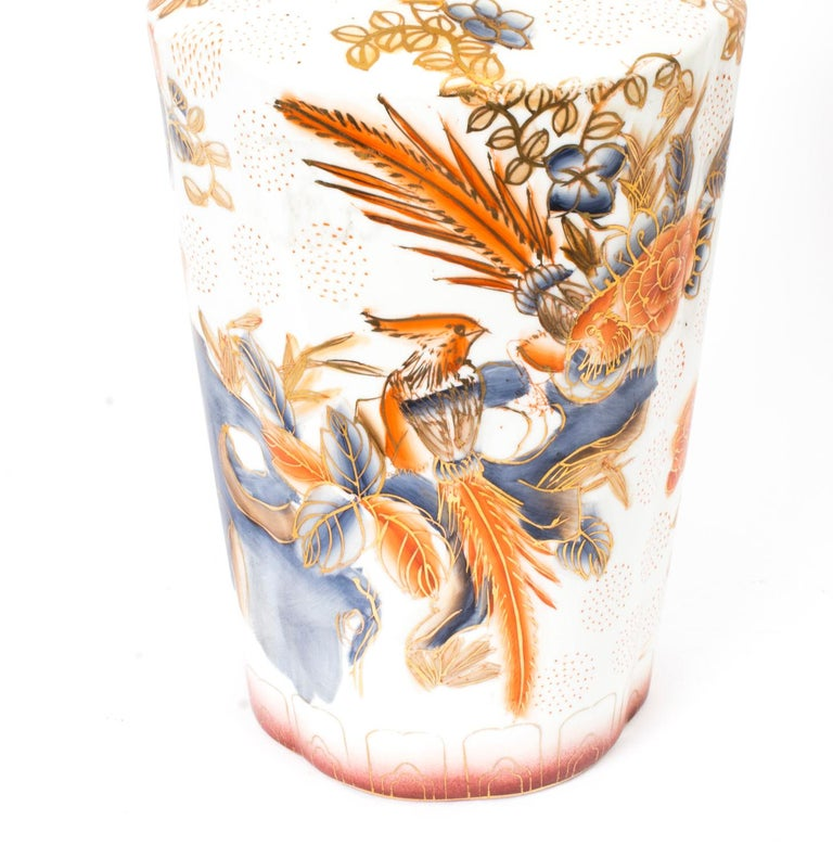Vintage Pair of Japanese Imari Hand Painted Porcelain Vases, Mid-20th Century In Good Condition For Sale In London, GB