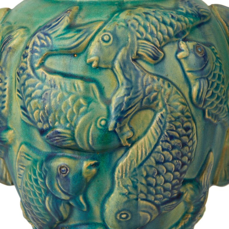 Vintage Pair of Japanese Moulded Carp Pottery Vases, 20th Century For Sale 11