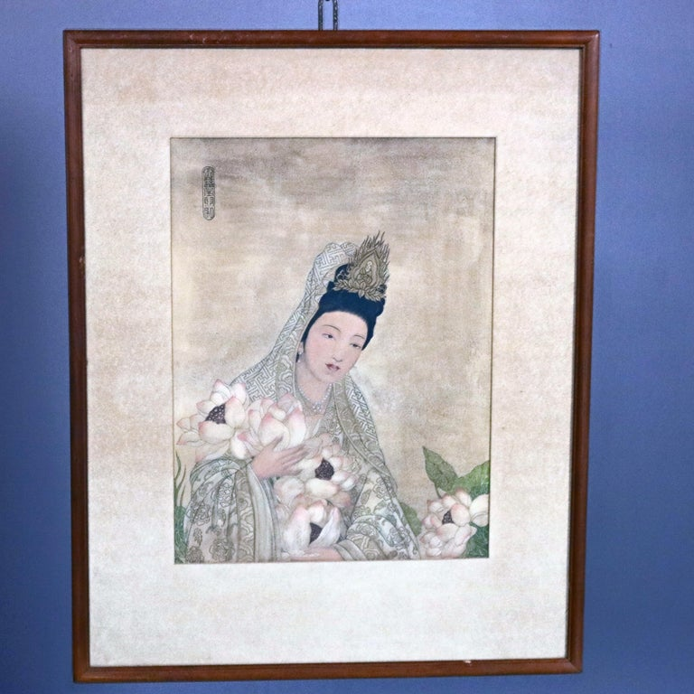 Pair of Japanese Woodblock Portrait Prints Geisha Girls, Stamped, circa 1920 In Good Condition For Sale In Big Flats, NY