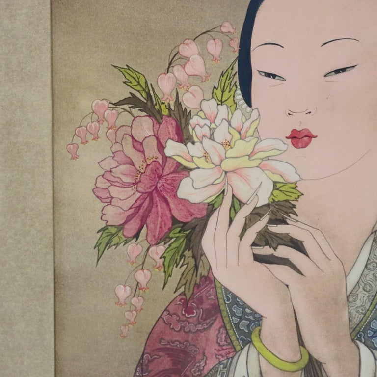 Pair of Japanese Woodblock Portrait Prints Geisha Girls, Stamped, circa 1920 For Sale 4