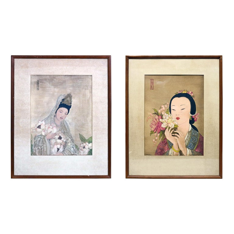 Pair of Japanese Woodblock Portrait Prints Geisha Girls, Stamped, circa 1920 For Sale