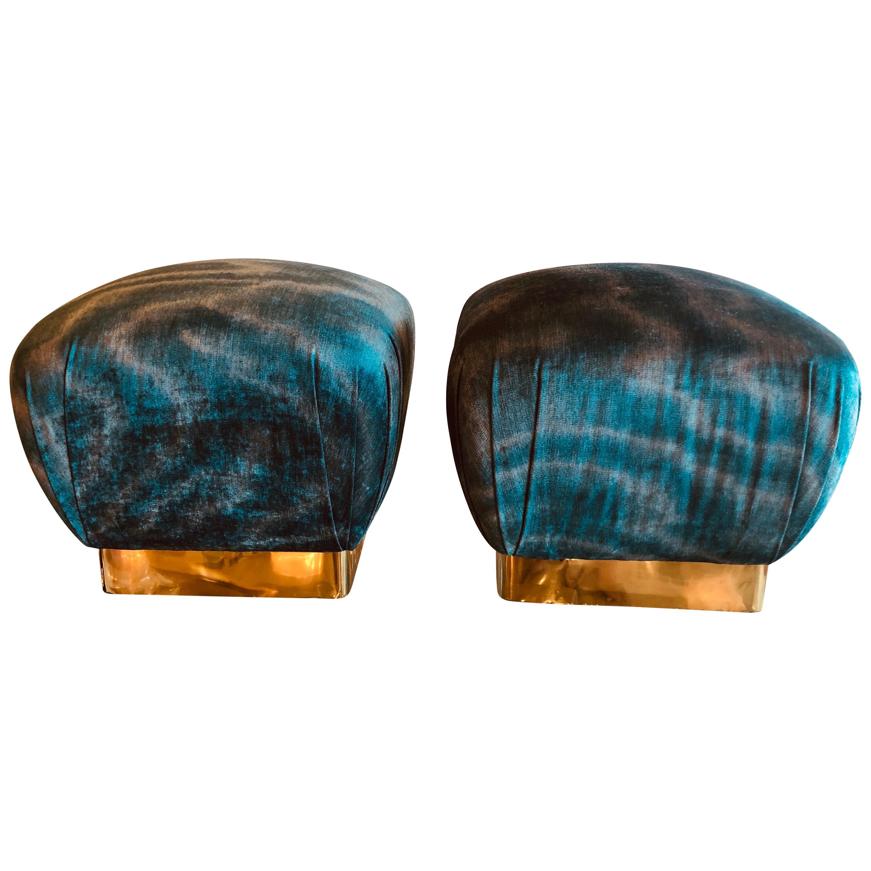 Vintage Pair Karl Springer Style Brass Upholstered Velvet Pouf Ottomans Benches