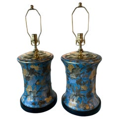 Vintage Pair Large Floral Porcelain Chinoiserie Blue Drum Table Lamps New Wiring