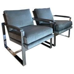 Pair Milo Baughman Style Chrome Cube Armchairs Upholstered Grey Velvet Arm Chair