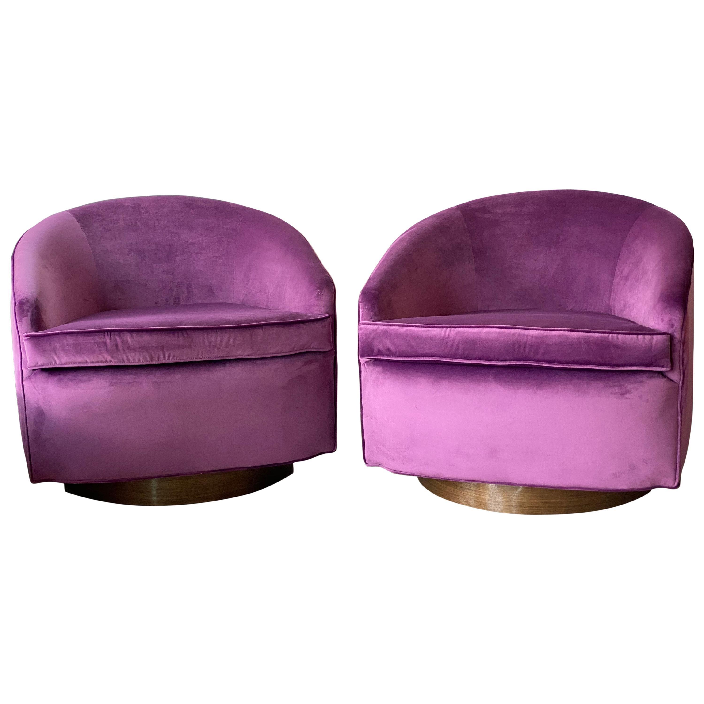Vintage Milo Baughman Style Swivel Chairs Walnut Bases in Eggplant Velvet