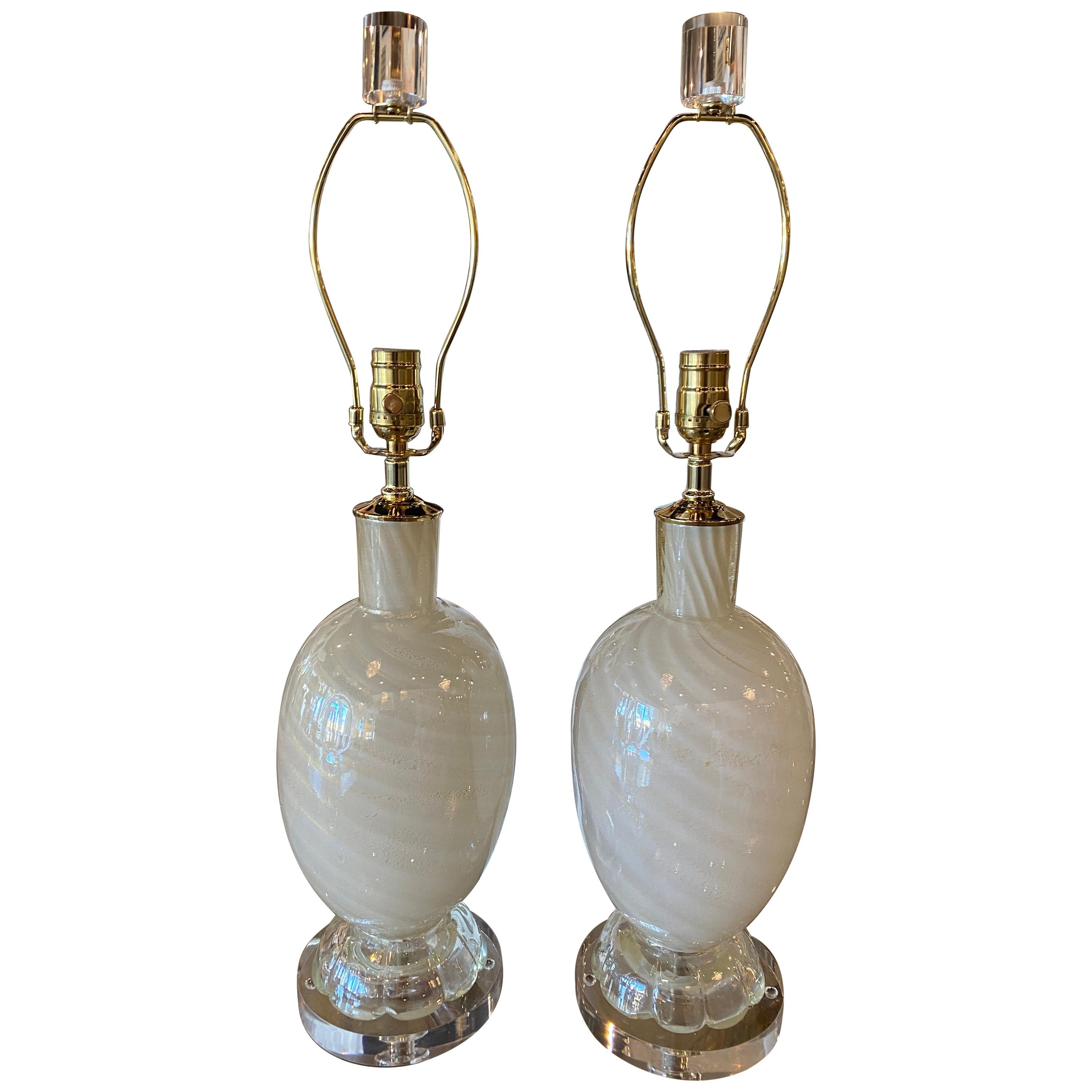 Vintage Pair Murano Glass White Opaline Gold Swirl Sparkle Table Lamps Restored