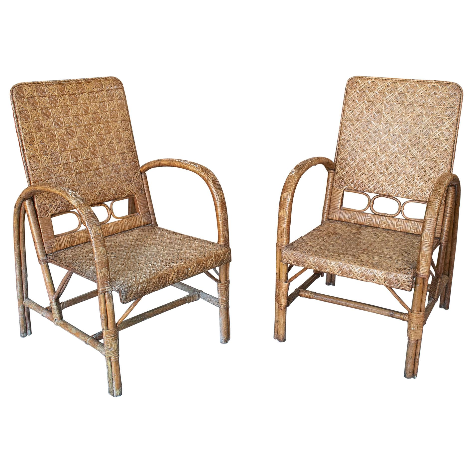 Vintage Pair of 1950s Spanish Hand Woven Wicker on Wood Armchairs
