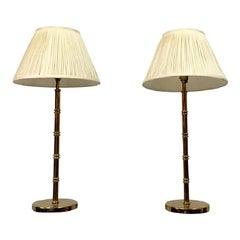 Vintage Pair of 1970s Brass Table Lamps