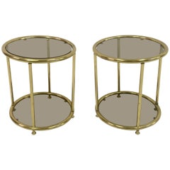 Vintage Pair of 1970s Italian Brass and Smoked Glass Side Tables