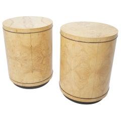 Vintage Pair of 1980s Henredon Burl Wood Drum Nightstands/End Tables