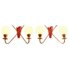 Vintage Pair of 2 Arms Wall Mount Lamps in the Style of Stilnovo, Italian, 1960s