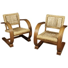 Vintage Pair of Adrien Audoux & Frida Minet Easy Chairs from France, circa 1940