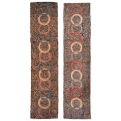 Vintage Pair of American Hooked Bold Hand Knotted Wool Rugs