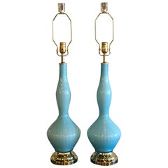 Vintage Pair of Aqua Blue Murano Glass Table Lamps Brass and Lucite