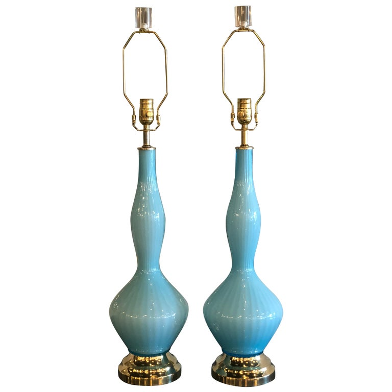 Vintage Pair of Aqua Blue Murano Glass Table Lamps Brass and Lucite For Sale