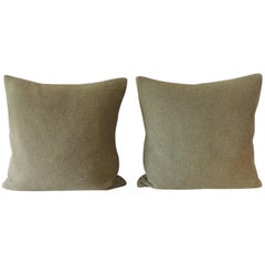 Vintage Pair of Army Green Wool Square Decorative Pillows