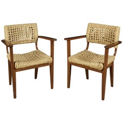 Vintage Pair of Audoux Minet Armchairs from France, circa 1940