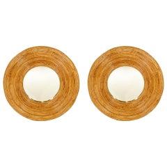 Vintage Pair of Bamboo Circular Mirrors