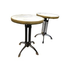 Vintage Pair of Bar Bistro Tables Deco, White Marble Top, Gold Bord, 1930 Italy