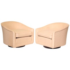 Vintage Pair of Barrel Swivel Chairs in Style of Milo Baughman Thayer Coggin