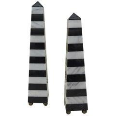 Vintage Pair of Black and White Stripes Marble Obelisks